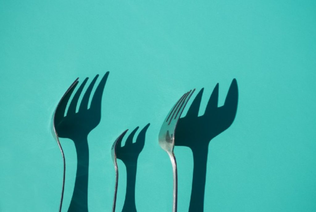 forks with shadows